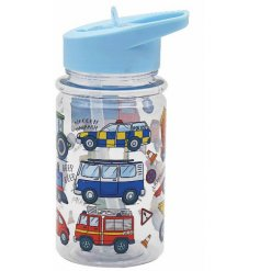 this colourful vehicles covered bottle will be sure to keep your little ones entertained