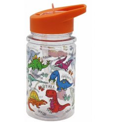 this colourful dino covered bottle will be sure to keep your little ones entertained