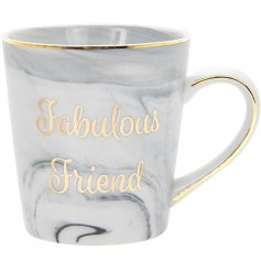 Gift your fabulous friend this chic and on trend marble print mug with gold friendship slogan.