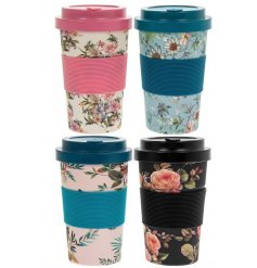 A mix of 4 eco friendly bamboo travel mugs, each assorted by its own colourful floral decal