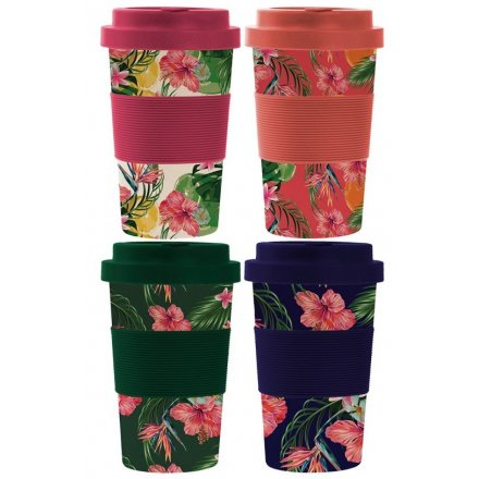 Tropical Flower Bamboo Mugs, 4ass