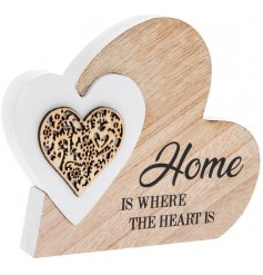 A charming natural wooden heart with an added heart shaped puzzle piece in a white tone