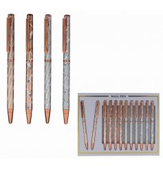 an assortment of silver and rose gold toned pens with a smooth writing finish