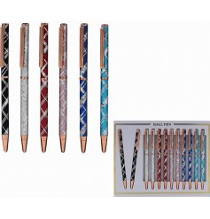 An assortment of 6 laser pens with a silver cross pattern. A fine quality writing pen and gift item.