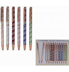 An assortment of 6 laser pens with a silver swirl pattern.