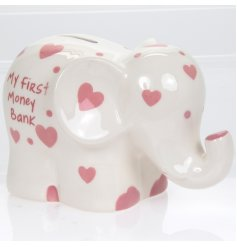 Help little ones to save their pennies with this adorable elephant shaped money bank with heart shaped pink patterns.