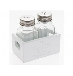 A shabby chic salt and pepper set with a white mini crate. A stylish tableware item for the home.