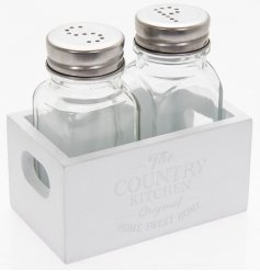 Cute and chic salt and pepper shakers set within a mini wooden crate with twin handles and a country kitchen slogan.