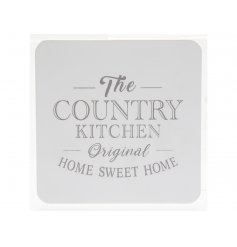 A set of 4 shabby chic coasters with a stylish home sweet home slogan. A charming interior accessory and gift item.