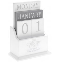 A chic and stylish white and grey wooden table top calendar from our popular country kitchen range.