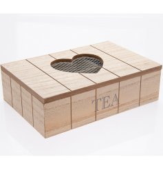 A charming, country style rustic wooden heart tea box. A lovely gift item and storage unit for the kitchen.