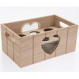 A rustic style wooden egg crate with twin carry handles and mesh hearts.