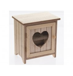 Store your fresh eggs in this cosy egg cabinet. A shabby chic style egg cabinet with a mesh heart opening