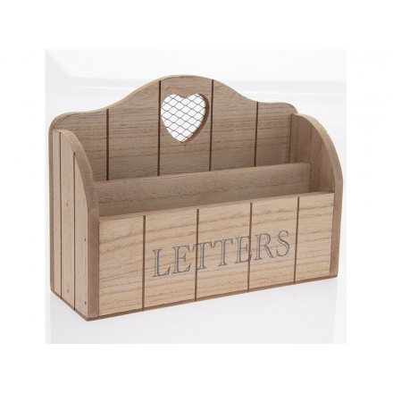 Natural Wooden Letter Rack 26cm