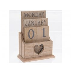 A shabby chic style wooden desk calendar with a heart shaped cut out design with mesh.