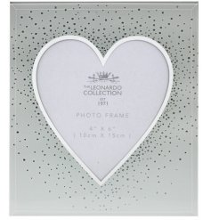 A chic and stylish mirrored photo frame with a heart opening and silver glitter sprinkles.