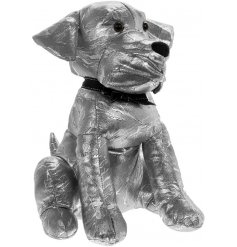 A fabulous Faux Leather Doggy Doorstop with an added glamorous silver touch