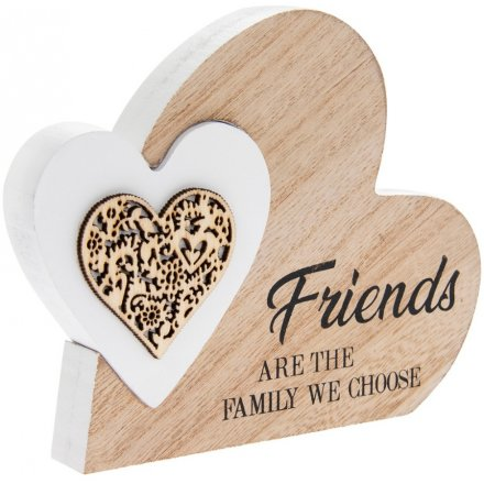 Sentiments Double Heart Side Block - Family We Choose