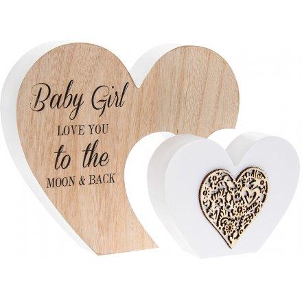 Double Heart Baby Girl Plaque