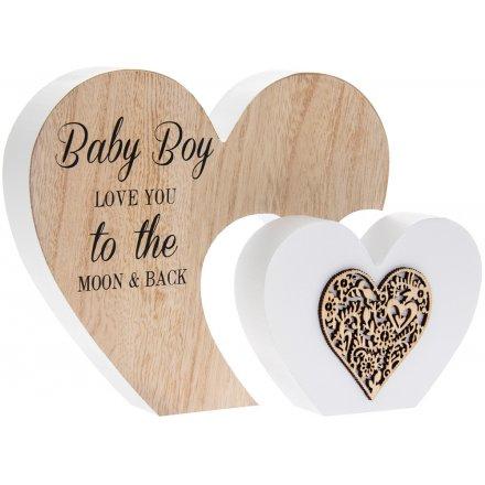 Double Heart Baby Boy Plaque