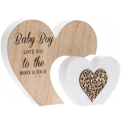A decorative wooden heart with a lovely baby boy motif. Perfect for a new baby gift or Christening gift.
