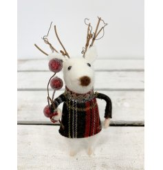 A charming felt mouse with a tartan jumper, glitter necklace and frosted berry bouquet.