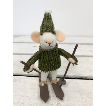 Mouse on skiis green jumper