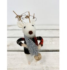 A unique woolly mouse decoration with twig antlers and a adorable tartan jumper, holding a silver glitter tree