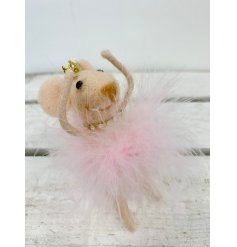 A chic felt mouse decoration with a pink feather dress, diamond necklace and crown.