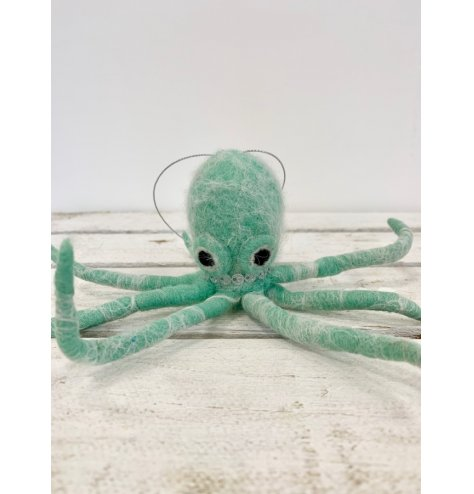 A trendy felt hanging octopus hanging decoration.