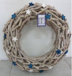 this large round shape wreath made of assorted branches and twigs will be sure to compliment any themed home at Christma