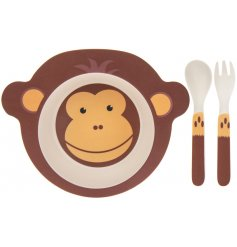 An eco friendly feeding set made from bamboo. This monkey design will help make dinner time fun and enjoyable for kids!