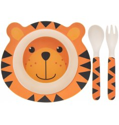 An eco friendly feeding set made from bamboo. This tiger design will help make dinner time fun and enjoyable for kids!