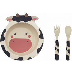 An eco friendly feeding set made from bamboo. This cow design will help make dinner time fun and enjoyable for kids!