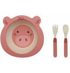 An eco friendly feeding set made from bamboo. This pig design will help make dinner time fun and enjoyable for kids!
