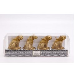A set of 4 Tiger Shaped Candles complete with a luxe gold tone