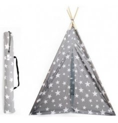 A charming little fabric teepee held up with natural wooden sticks