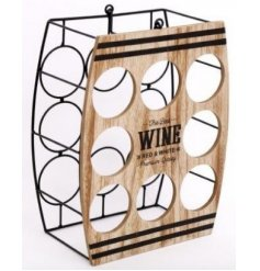 Set with a natural wooden front plaque and spaces for up to 8 wine bottles