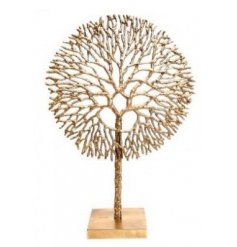 A Large golden toned Coral Sculpture set atop a natural wooden base