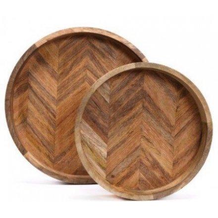Mango Wood Herringbone Tray Set