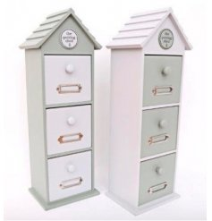 Appealing wooden drawer storage unit from the Love Grows Here giftware range. Measures approx 41 x 14 x 11 cm
