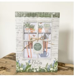 96 page A5 notebook, part of the Love Grows Here giftware range, measures approx 21 x 14.8 cm