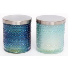 Bring a touch of blue to your home with this beautiful assortment of glass candle pots featuring a bobbled effect