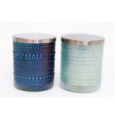 A gorgeous mix of glass candle pots featuring a blue iridescent tone and bobble effect