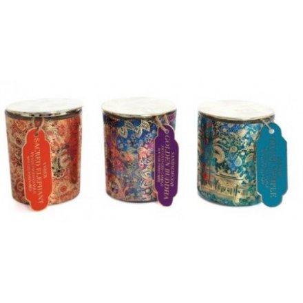 Golden Pattern Candle Pots, 3ass 7cm