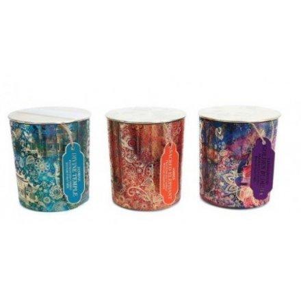 Large Golden Pattern Candle Pots, 3ass