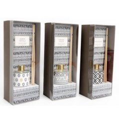 A gorgeous mix of Aztec inspired Reed Diffusers, set with luxe grey and yellow tones