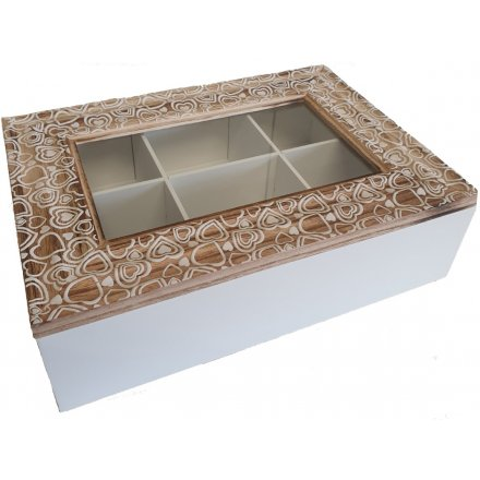 A square wooden Tea Box featuring natural tones and white washed decals