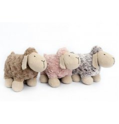 A farm yard mix of woollen sheep doorstops in assorted colours,