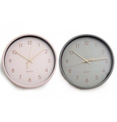 An assortment of 2 round wall clocks in a chic grey and pink pastel colour